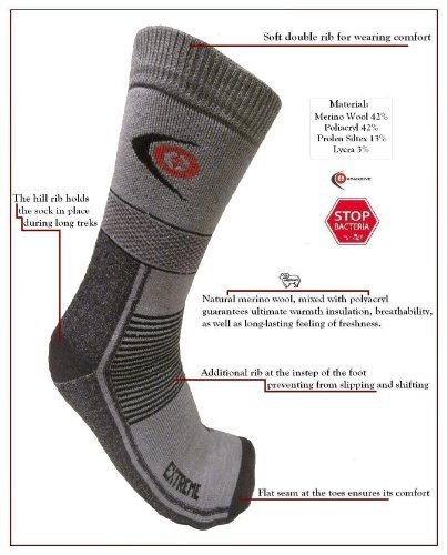 Expansiva de clima frío TREKKING Senderismo extrema caliente calcetines gris 095/03 lana Merino talla 9-12 (EUR 43-46) eXPANSIVE TREKKING EXTREME 095/03