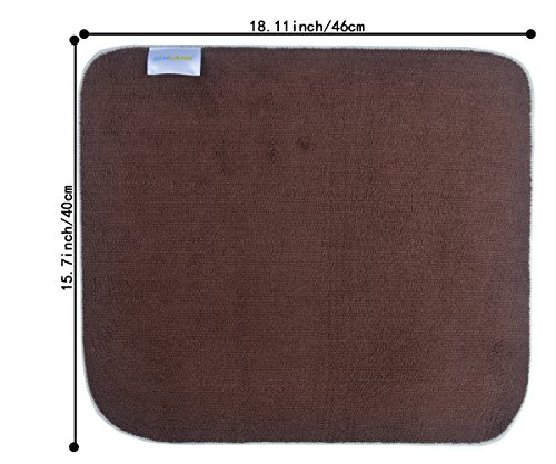 Sinland Microfiber Dish Drying Mats Countertop Mat For Dishes Kitchen Super Absorbent 16Inch X 18Inch Brown 2 Pack