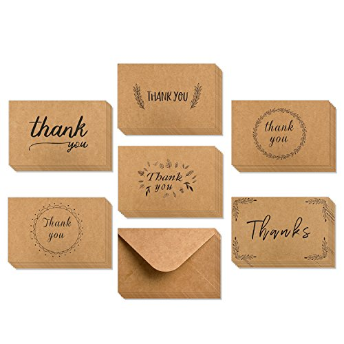 Ohuhu 36 Pack Brown Kraft Paper Thank You Cards Thank U Greeting Card W/ 36 Kraft Paper Envelopes for Wedding, Graduation, 4 x 6 Inches