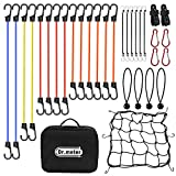 32PCS Heavy Duty Bungee Cord Set, Dr.meter Tie Down Straps with Plastic Coated Reinforced S Steel Hooks- Includes 10'', 18'', 24'', 32'', 40'' Bungee Cord and 4 Canopy/Tarp Ball Ties