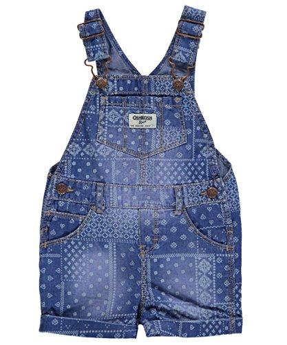 Carters Baby Girls Patchwork Handkerchief Denim Shortalls 24M