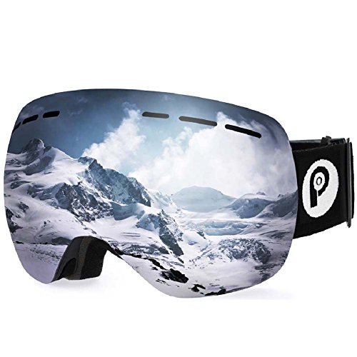 Picador Ski Goggles Over The Glasses With Detachable Dual Layer Anti-Fog Lens For Women And Men (Matte black)