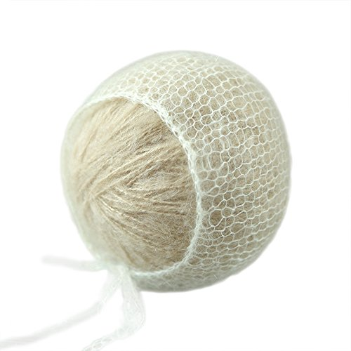 D&J Newborn Baby Photo Prop Hand Knit Mohair Baby Bonnet Soft Little Mohair Newborn Size Ivory