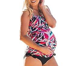 QinMM Tankini Traje de baño Mujer Maternidad Premamá para Mujer Punto Deportes Bañador de Dos Piezas Embarazada Bikini