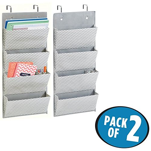 mDesign Hanging Fabric Office Supplies Storage Organizer for Notebooks, Planners, File Folders – Pack of 2, 4 Pockets, Gray/Cream