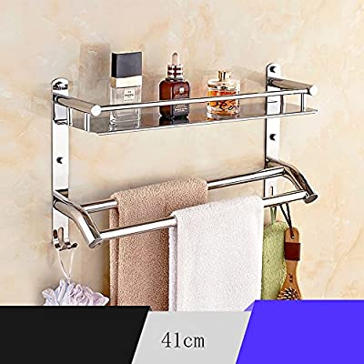 Baldas de baño Acero inoxidable Estante de toallas para aseo baño (resistencia a la corrosión, no se oxidan) Garantizar la calidad (Color : A-41cm)