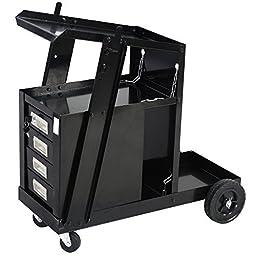 Goplus Welding Welder Cart MIG TIG ARC Plasma Cutter Tank Storage w/ 4 Drawer Cabinet