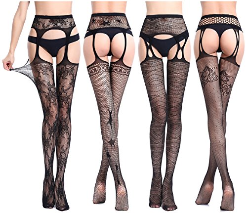 QandSweet Womens Stockings Thigh High Sexy Fishnet Lace Suspender Pantyhose Stretchy 4-Pack, Black, One Size -