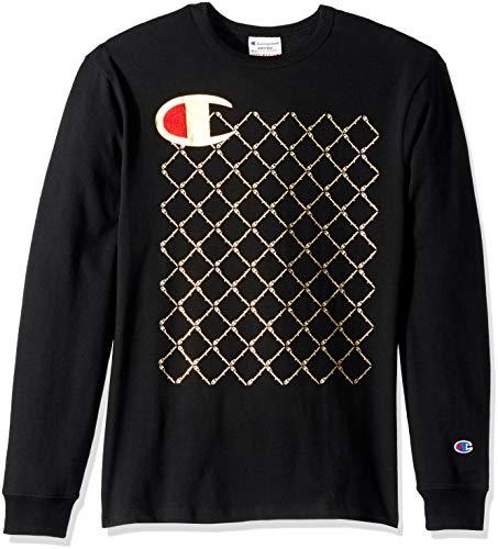 - Champion LIFE Men's Heritage Long Sleeve Tee, Black/c Logo/Script Quilt, Medium