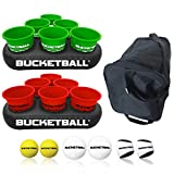 BucketBall - Team Color Edition - Party Pack (Green/Red): Original Yard Pong Game: Best Camping, Beach, Lawn, Outdoor, Family, Adult, Tailgate Game