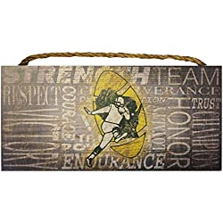 Green Bay Packers NFL Team Classic Logo Garage Home Office Room Wood Sign with Hanging Rope - Collage 6X12 Heritage