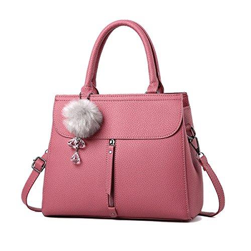 WU ZHI Lady Messenger Bag Bolso De Hombro Bolso De Mediana Edad Mom PU Soft Leather Making Pink
