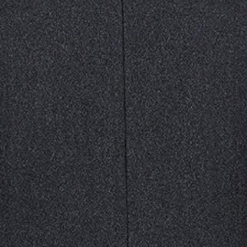 Gris De Slim Occasionnel Coat Unie Couleur B Artificielle Laine Veste Fnkdor Foncé En Manteau Homme Trench Bouton fWH0qqZzp