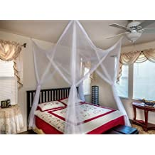 Octorose ® 4 Poster Bed Canopy Netting Functional Mosquito Net Full Queen King (White)