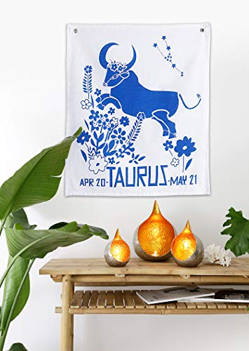 Madhu International Graphic Zodiac Flag Tapestry Zodiac Sign Taurus Astrology Tapestry The Universal Sign Horoscope Celestial Tapestries Hippie Wall Hanging with Steel Grommets for Easy - Tapestry Flag
