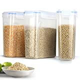 Duramont Cereal & Dry Food Storage Container set of 3 (16.9 Cup 135.2oz) Airtight Lid - Suitable For Cereal, Flour, Sugar, Coffee, Rice, Snacks, Pet Food