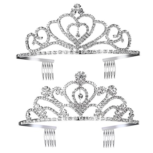 Pixnor Princess Tiara Crown with Comb Wedding Party Children Flower Girl Heart-Shape Crown for Kids Baby Birthday Party Decorations, 2Pack]()