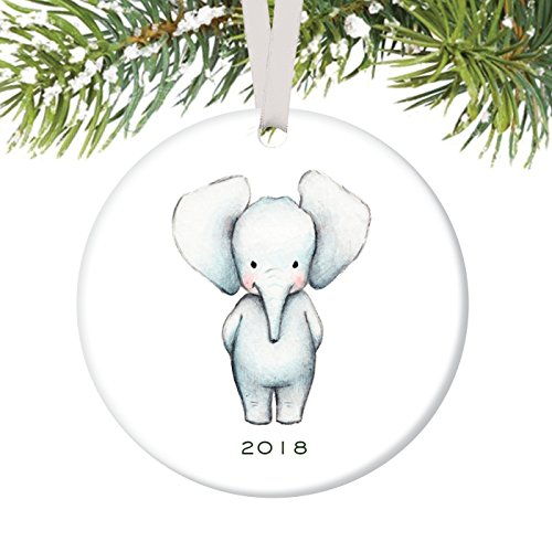 Baby Ornament 2018, Baby Elephant Porcelain Ceramic Ornament, 3