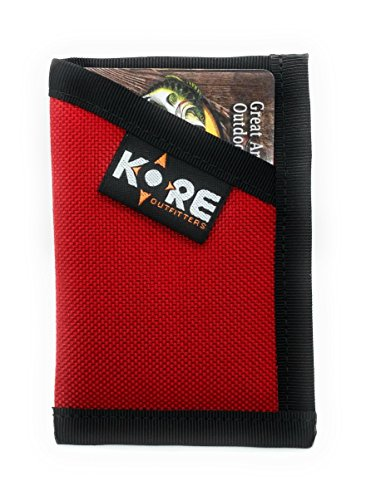 - Minimalist Wallet Slim Front Pocket Wallet Card Holder Money Clip - Red and Black - KORE Outfitters Made in the USA