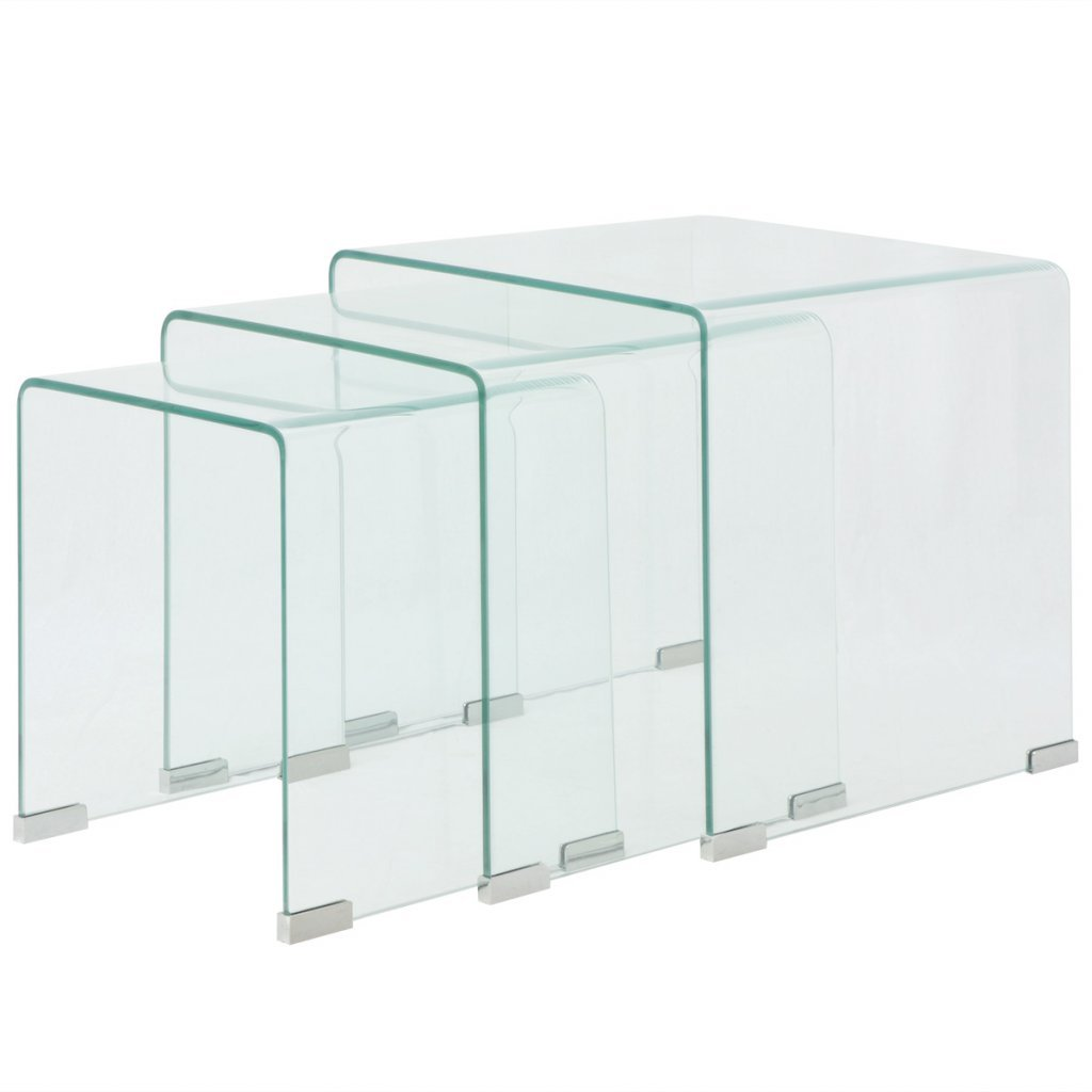 Festnight Tempered Glass Nesting Tables Set of 2 for Home Office - Clear