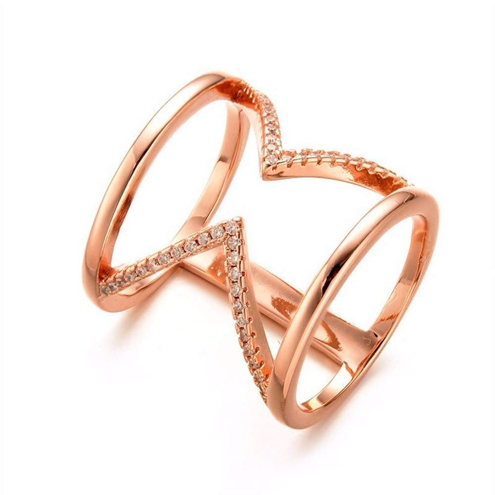 V-MONI European and American Fashion Popular Personality Micro-Inlaid Zircon Ring Female Explosion Models Geometric Wide Ring Ring Manufacturers Wholesale Rose Gold 16
