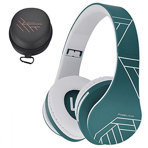 19 - PowerLocus Bluetooth Over-Ear Headphones, Wireless Stereo Foldable Headphones Wireless and Wired Headsets with Built-in Mic, Micro SD/TF, FM for iPhone/Samsung/iPad/PC (Blue/White)