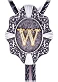 Golden Initial in Flower Nursery Cowboy Bolo Tie with Cowhide Rope (W)