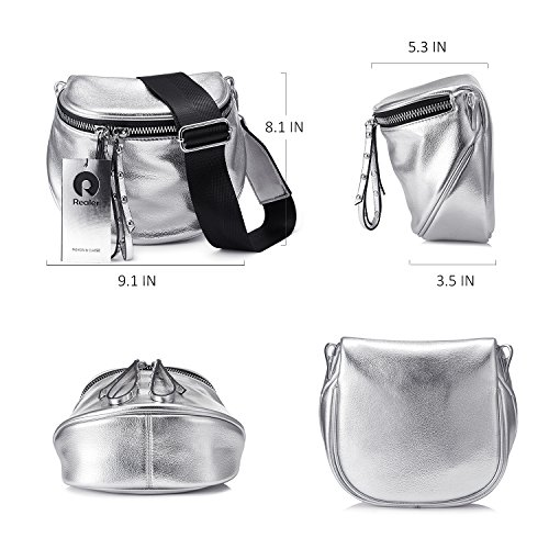 Crossbody Small Fashion Crossbody Bag Leather for Shoulder Bags Purse Silver Women fSf4q
