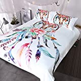 Blessliving Buffalo Skull with Feathers Dreamcatcher Bedding Southwestern Boho Chic Duvet Cover Colorful Tribal Bed Set (Queen, White)