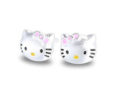 Pendientes de plata de ley Findout con diseño de gatos, para mujeres y