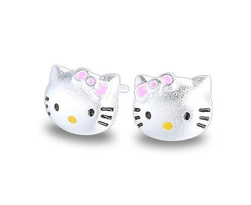 Pendientes de plata de ley Findout con diseño de gatos, para ...