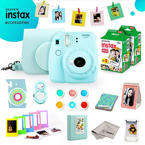 Fujifilm Instax Mini 9 Bundle (Ice Blue) – Fuji Camera Instant Film (40 Sheets) + 11-in-1 Accessory Bundle – Carry Case, 6 Color Filters, 2 Photo Albums, Assorted Frames, Selfie Lens & Much More