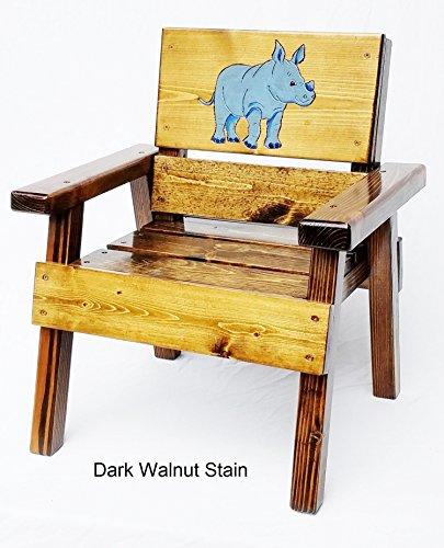 Kids Wood Jungle Safari Chair, Engraved & Painted Blue Rhinoceros, Heirloom Furniture, Indoor / Outdoor