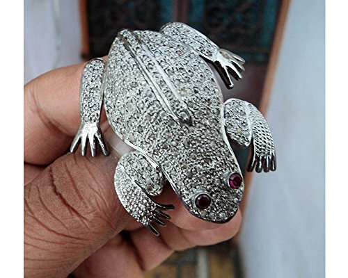 Frog Style Rose Cut Diamond Brooch Pendant - Pave Diamond Brooch Pendant - 925 Sterling Silver Brooch - Diamond 925 Silver Brooch - Designer Diamond Silver Brooch Pendant ()