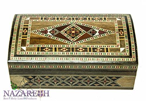 Vintage Olive Wood Decor Trinket Storage Set Jewelry Box Handmade Jerusalem by Nazareth Market Store