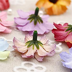 Silk Artificial Flowers Fake Flower Heads in Bulk Wholesale for Crafts Shiny Daisy Head Wedding Home Decoration Party Decor DIY Scrapbooking Chrysanthemum Accessories 50pcs 5