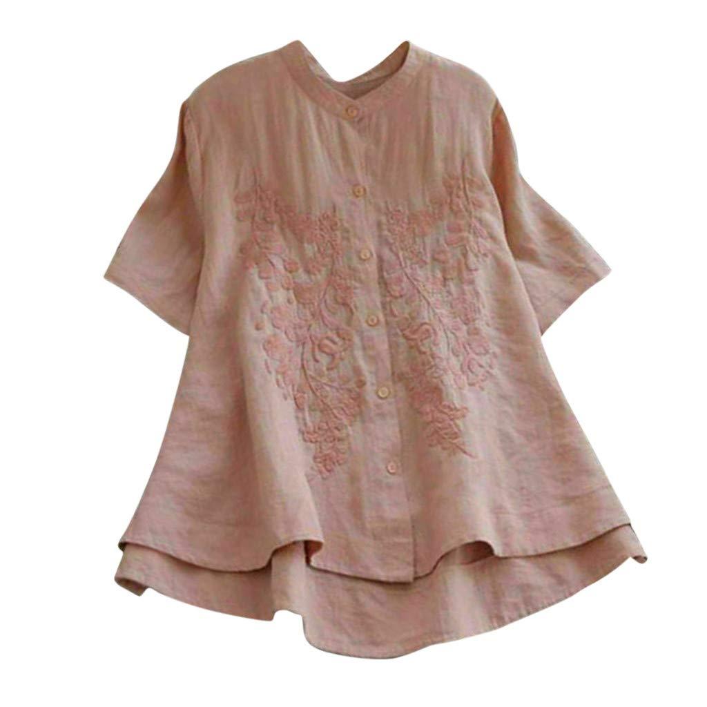 Sunyastor Women's T-Shirt, Plus Size Cotton Linen Short Sleeve Floral Embroidered Vintage Button Loose Blouse Tops Pink