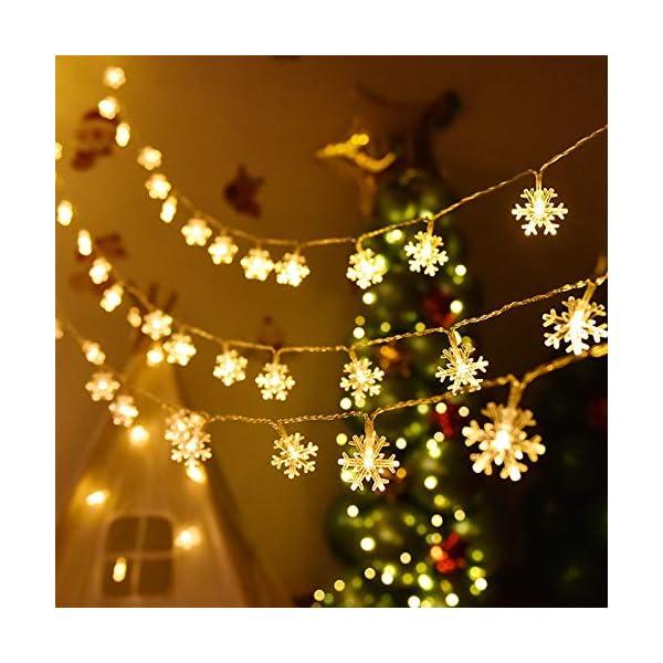 Catena Luminosa,Luci natalizie a forma di fiocco di neve,per Natale,giardino,terrazza,camera da letto,feste,interni ed esterni,luce bianca calda 7 spesavip