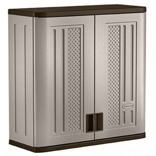 Suncast Wall Storage Cabinet - Resin Construction for Wall Mounted Garage Storage - 30.25