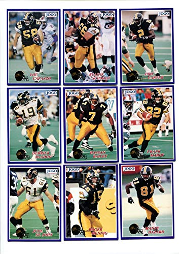 1995 Jogo Hamilton Tiger Cats Lot of 9 Cards Eric Carter, Blaine Schmidt, Lou Cafazzo, Frank Marof, Hassan Bailey, Derrick McAdoo, Manny Hazard, Roger Hennig, Jude St. John