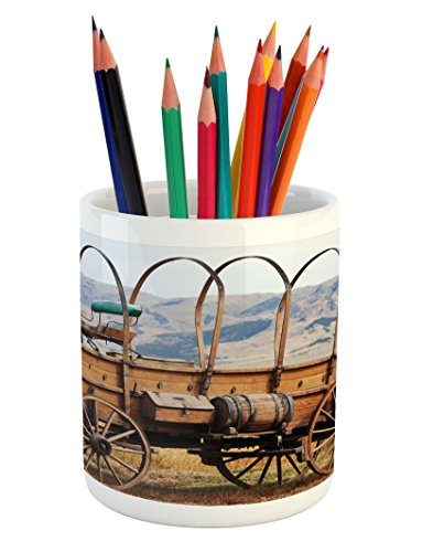 Western Pencil Pen Holder by Ambesonne, Photo of Old Nostalgic Wild West American Cart Carriage in the Farm Texas Style, Printed Ceramic Pencil Pen Holder for Desk Office Accessory, Brown - West Farms Restaurants