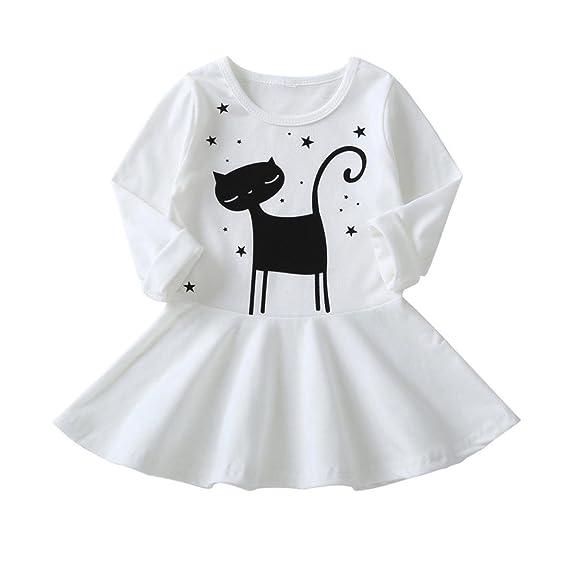 🌸 Vestidos Bebe Otoño, 🌸 Zolimx Bebés y Niñas de Manga Larga para Niños Lindos Dibujos Animados Gato Impresión Vestido de Ropa Vestidos Casuales: ...