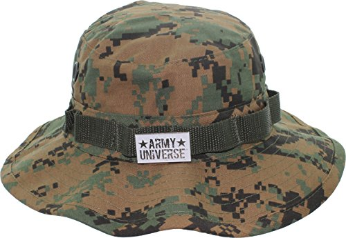 Woodland Digital Camouflage Boonie Hat with ARMY UNIVERSE Pin - Size Medium 7 (Digital Woodland Camo Design)