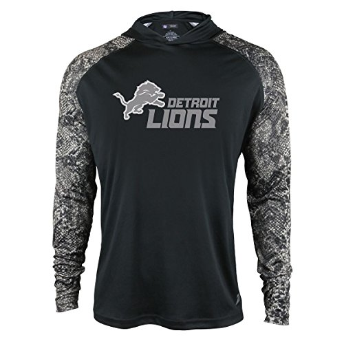 NFL Detroit Lions Men's Zubaz Light Weight Synthetic Hood with Digital print Sleeves, Medium, Black Detroit Lions Light