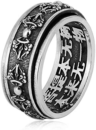 Beydodo Herren Ring Sterling Silber 925 Drehbar Buddhist Mantra Vajra Gothic Ring Silber Freundschaftsring Partnerring