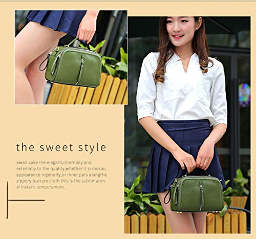 (OVIIVO Women Handbag Shoulder Bag Small Square Leather Bag Female Summer Fashion First Layer Leather Mini Shoulder Messenger Bag Outdoor Travle Crossody Bag (Color : Earth Yellow))