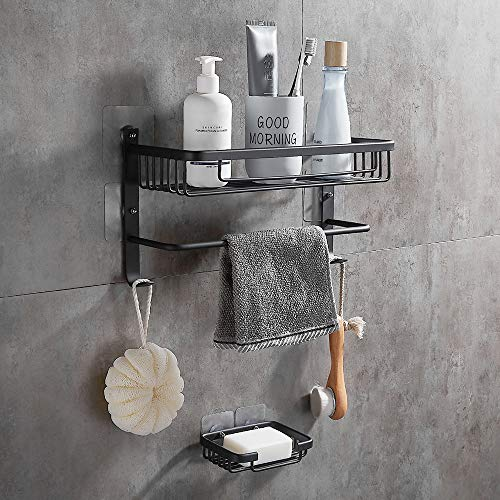 GERUIKE Shower Caddy Corner Shelf Wall Mounted Aluminum Self Adhesive Bathroom Organizer Rustproof White