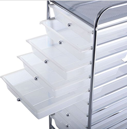 Quality Carts - 10 Storage Drawer - Rolling Organizer - Office School Home - Scrapbook Paper Box Tools - Clear New Plastic Carts - Good Quality - Light Weight