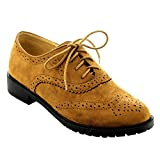 FOREVER Women's Lace Up Low Chunky Heel Casual Oxford Shoes