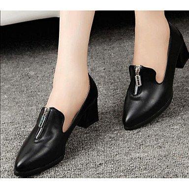 5 7 Automne Talons ggx Blanc synthétique Confort de cm 9 5 Polyuréthane PU LvYuan Noir microfibre Femme Confort Décontracté Chaussures à white à PadATwq